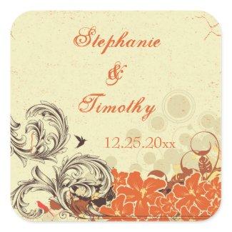 Vintage distressed orange floral wedding stickers sticker