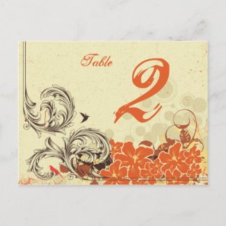 Vintage distressed orange wedding table number postcard