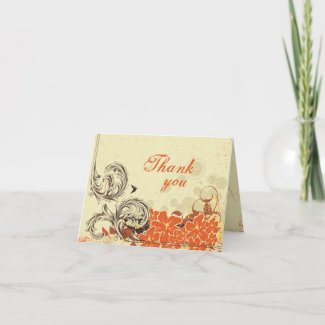 Vintage distressed orange wedding thank you card card
