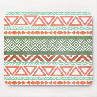 Vintage Distressed Red Green Tribal Aztec Pattern Mouse Pad