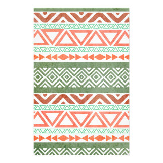 Vintage Distressed Red Green Tribal Aztec Pattern Stationery