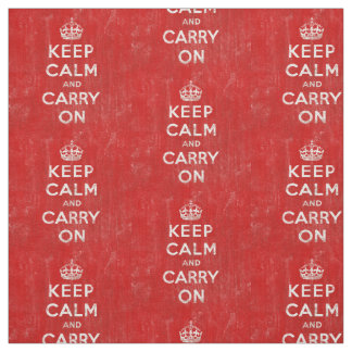 Vintage Distressed Red Keep Calm and Carry On Fabric