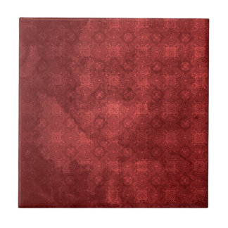 Vintage Distressed Red Pattern Small Square Tile