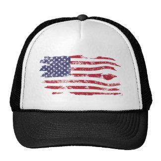 Vintage Distressed Tattered American Flag Hat