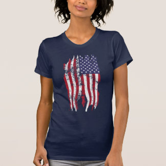 Vintage Distressed Tattered American Flag T-shirt