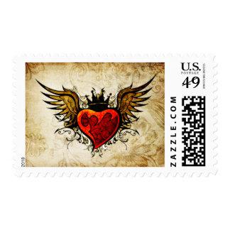 Vintage Distressed Tattoo Winged Heart Postage