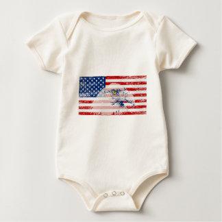 Vintage Distressed U.S. Flag & Eagle Baby Bodysuit
