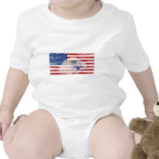 Vintage Distressed U.S. Flag & Eagle Baby Creeper