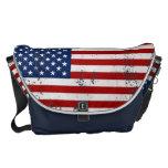 Vintage Distressed U.S. Flag Messenger Bag