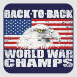 Vintage Distressed U.S. World War Champs Stickers