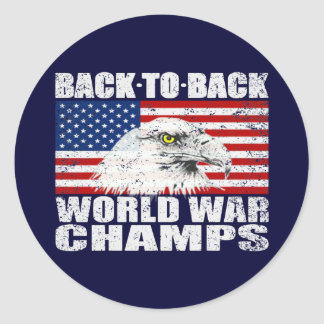 Vintage Distressed U.S. World War Champs Stickers