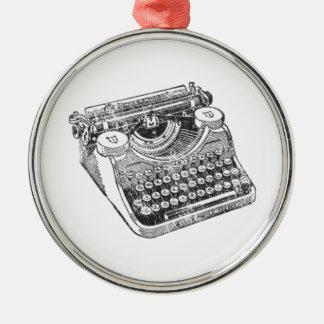Vintage Distressed Underwood Typewriter Metal Ornament