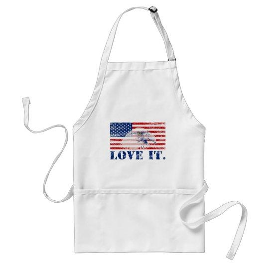 Vintage Distressed US Flag & Eagle LOVE IT Apron