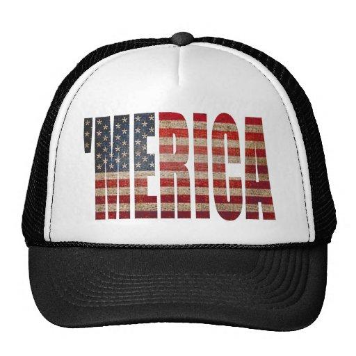 Vintage Distressed US Flag MERICA Trucker Hat