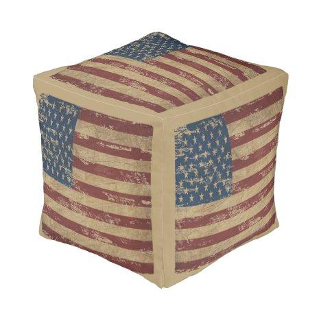 Vintage Distressed US Flag Pouf