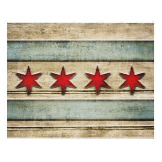 Vintage Distressed Wood Look Flag of Chicago Panel Wall Art