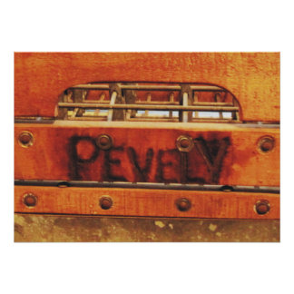 Vintage Distressed Wood & Metal Pevely Milk Crate Poster