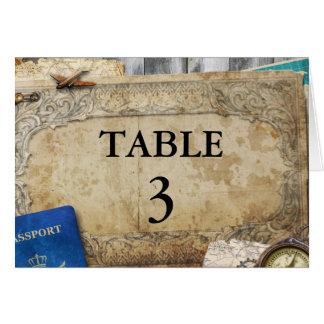 Vintage Distressed World Travel Table Number Cards