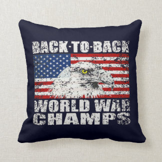 Vintage Distressed World War Champs Throw Pillow
