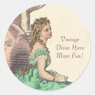 Vintage Divas Have More Fun Victorian Blonde Round Stickers
