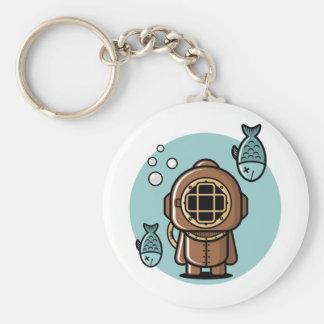 Vintage Diver Basic Round Button Keychain