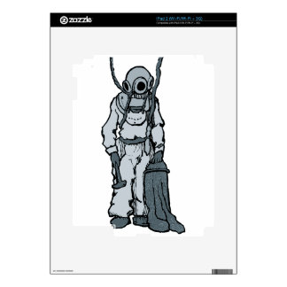 Vintage Diver with Diving Helmet Illustration iPad 2 Skin