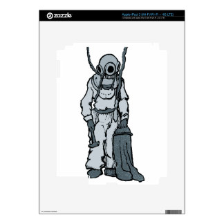 Vintage Diver with Diving Helmet Illustration Skin For iPad 3