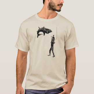 Vintage Diver with Diving Helmet, Knife, and Shark T-Shirt