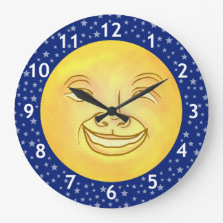 Vintage divertido del espacio exterior del hombre reloj redondo grande
