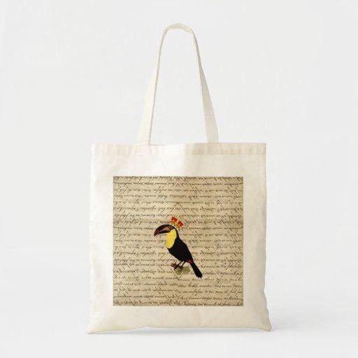 Vintage divertido toucan y corona bolsa
