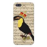 Vintage divertido toucan y corona iPhone 5 protector