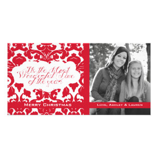 Vintage Divine Damask Red Photo Card Template