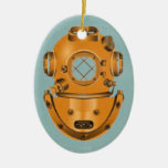 Vintage Diving Bell Double-Sided Oval Ceramic Christmas Ornament