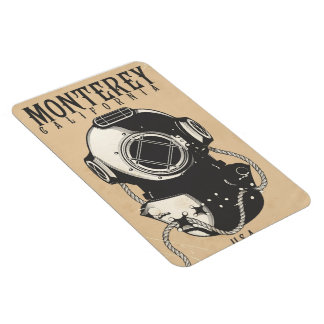Vintage Diving poster to Monterey California USA Magnet