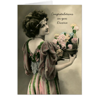 Vintage Divorce Congrats With Flowers Card
