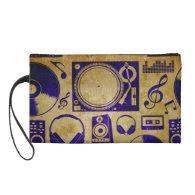 Vintage dj music wristlet clutches