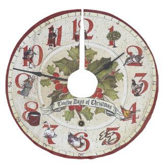 Vintage doce días de navidad falda para arbol de navidad de poliéster