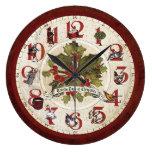 Vintage doce días de navidad reloj redondo grande
