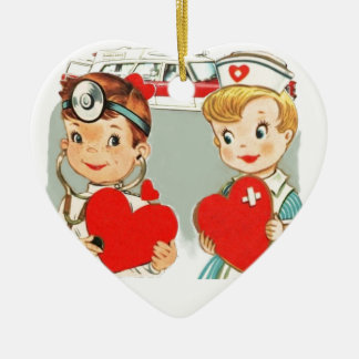 vintage doctor and nurse love with ambulance ceramic ornament