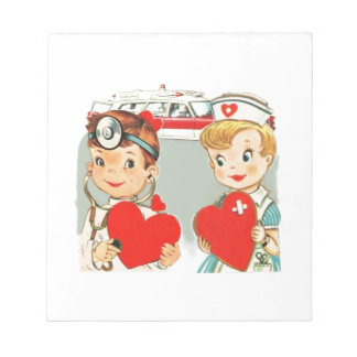 vintage doctor and nurse love with ambulance notepad