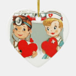 vintage doctor and nurse love with ambulance Double-Sided heart ceramic christmas ornament