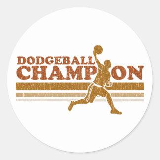Vintage Dodgeball Champion Classic Round Sticker