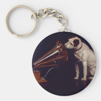 Vintage Dog and Phonograph Print Art Keychain