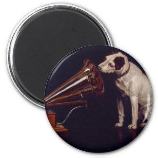 Vintage Dog and Phonograph Print Art Fridge Magnets