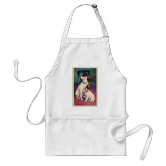 Vintage Dog and Puppy Canine Father Son Postcard Aprons