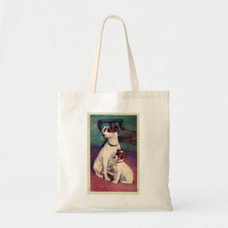 Vintage Dog and Puppy Canine Father Son Postcard Bag