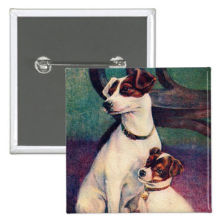 Vintage Dog and Puppy Canine Father & Son Postcard Pinback Button