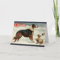 Vintage dog and sheep christmas holiday card