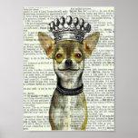 VINTAGE DOG ART PRINT, POSTER, CHIHUAHUA W CROWN