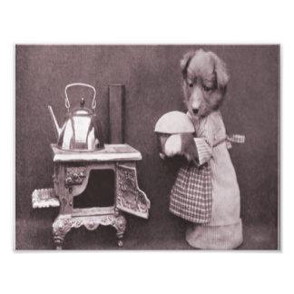 Vintage Dog Baking in the Kitchen Photo Print
